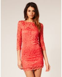 ASOS Collection | Pink Asos Lace Bodycon Dress | Lyst