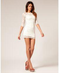 ASOS Collection - White Asos Lace Bodycon Dress - Lyst
