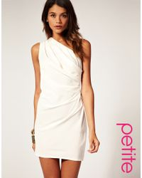 ASOS Collection | White Asos Petite Drape One Shoulder Dress with Gathered Drape | Lyst