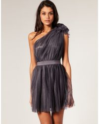 ASOS Collection   Gray Asos Pleated Dress with One-shoulder   Lyst