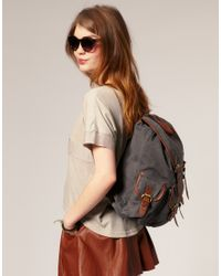 ASOS Collection | Gray Asos Washed Canvas Rucksack | Lyst