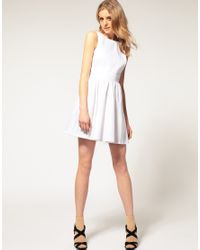 ASOS Collection - White Asos Petite Skater Dress with Open Back - Lyst
