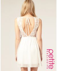 ASOS Collection - White Asos Petite Exclusive Open Back Lace Mini Dress - Lyst