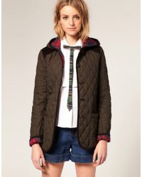 ASOS Collection | Brown Asos Quilted Jacket with Hood and Cord Trim | Lyst