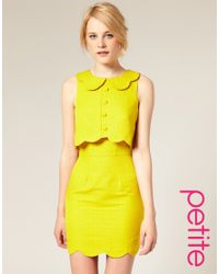ASOS Collection - Yellow Asos Petite Pique Chelsea Scalloped Shift Dress - Lyst