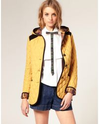 ASOS Collection | Yellow Asos Quilted Jacket with Hood and Cord Trim | Lyst