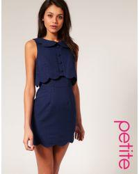 ASOS Collection - Blue Asos Petite Pique Chelsea Scalloped Shift Dress - Lyst