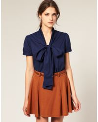 ASOS Collection - Blue Asos Short Sleeve Pussybow Cotton Blouse - Lyst