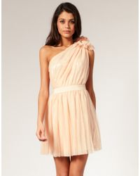 ASOS Collection | Natural Asos Pleated Dress with One-shoulder | Lyst