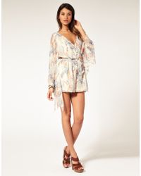 ASOS Collection - Multicolor Asos Petite Oriental Floral Kimono Sleeve Playsuit - Lyst