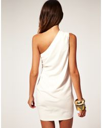 ASOS Collection - White Asos Petite Drape One Shoulder Dress with Gathered Drape - Lyst
