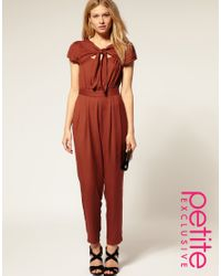 ASOS Collection | Brown Asos Petite Exclusive Jumpsuit with Cut Out Back | Lyst