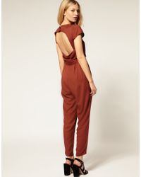 ASOS Collection - Brown Asos Petite Exclusive Jumpsuit with Cut Out Back - Lyst