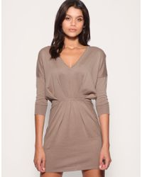 ASOS - Natural V-neck Pleat Waist Knitted Dress - Lyst