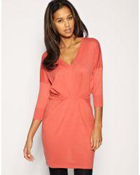 ASOS - Pink V-neck Pleat Waist Knitted Dress - Lyst