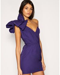 ASOS Collection | Purple Asos One Shoulder Dress with Exaggerated Bow | Lyst