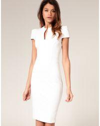 ASOS Collection - White Asos Ponti Pencil Dress with Zip Detail - Lyst