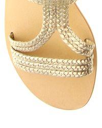 ASOS - Metallic Asos Fiji Leather Tie Up Flat Sandals - Lyst