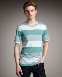 Lacoste | Bar-stripe Tee, Blue-green for Men | Lyst