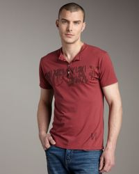 Royal Underground | Red Vi Short-sleeve Henley for Men | Lyst