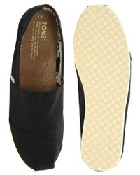 TOMS - Yellow Classic Canvas Black Flat Shoes - Lyst