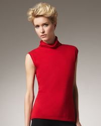 Adrienne Vittadini | Red Funnel-neck Shell | Lyst