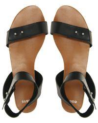 ASOS - Black Asos Frisk Leather Stud Flat Sandals - Lyst