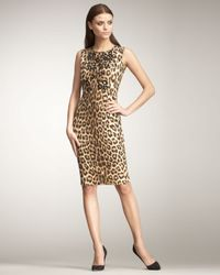 Blumarine | Multicolor Leopard-print Sheath Dress | Lyst