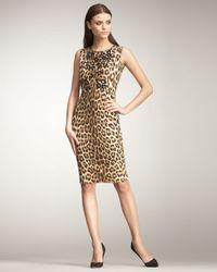 Blumarine - Multicolor Leopard-print Sheath Dress - Lyst