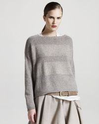 Brunello Cucinelli | Gray Striped Sweater | Lyst