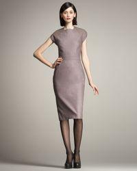 Carolina Herrera | Gray Stretch-wool Sheath Dress | Lyst