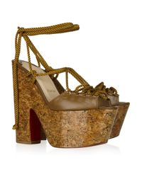 Christian Louboutin | Brown Jerry 160 Lace-up Leather Sandals | Lyst