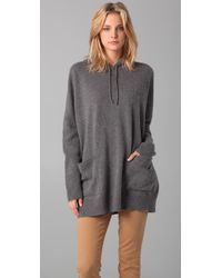 DKNY | Gray Hooded Pullover with Ribbed Sleeves | Lyst