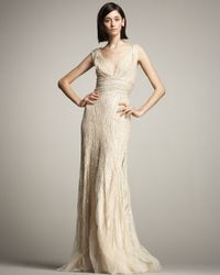 Eastland | Natural Beaded Tulle Gown | Lyst