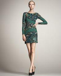 Emilio Pucci   Green Peacock-print Keyhole Dress   Lyst