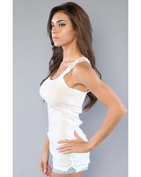 Free People - White The Long and Lean Layering Fabulousness Tank in Ivory Heather - Lyst