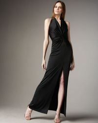 Halston | Black Long-slit Halter Gown | Lyst