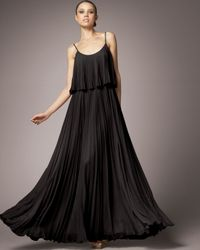 Halston | Pleated Silk Dress, Black | Lyst