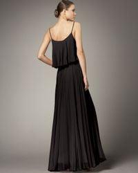 Halston - Pleated Silk Dress, Black - Lyst