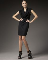 Helmut Lang | Black Sonar Cowl-neck Dress | Lyst