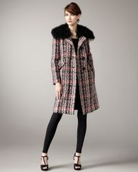 MILLY | Multicolor Lindsey Fur-trim Coat | Lyst