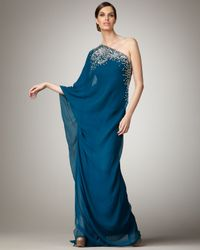 Naeem Khan | Blue One-sleeve Embroidered Caftan Gown | Lyst