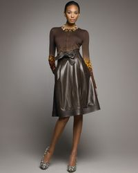 Oscar de la Renta | Brown Tie-waist Leather Full Skirt | Lyst