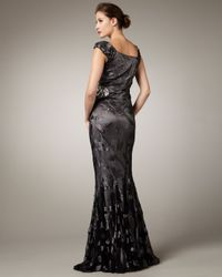 Pamella Roland | Black Asymmetric-neck Embroidered Gown | Lyst