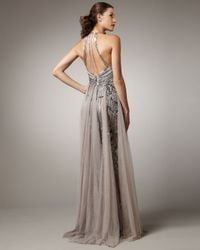 Pamella Roland | Gray High-neck Embroidered Gown | Lyst