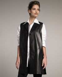 Shamask | Black Long Leather Vest | Lyst