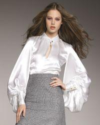 Saint Laurent   White Duchess Satin Blouse   Lyst