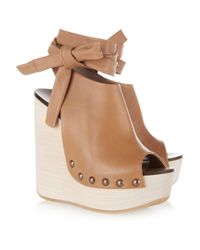 Chloé | Brown Leather Studded Wedge Sandals | Lyst