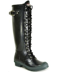 HUNTER | Watling - Black Rubber Lace Up Rain Boot | Lyst