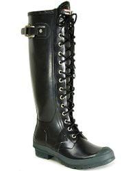 HUNTER - Watling - Black Rubber Lace Up Rain Boot - Lyst